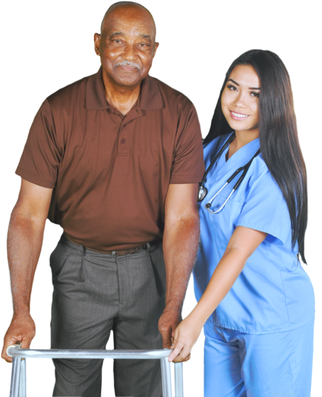portrait of a nurse and a senior man smiling