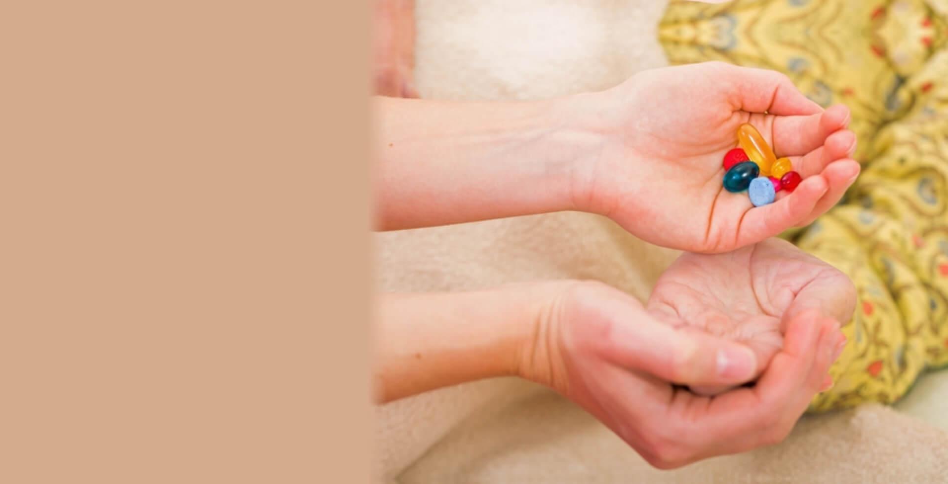 Medicines on hands