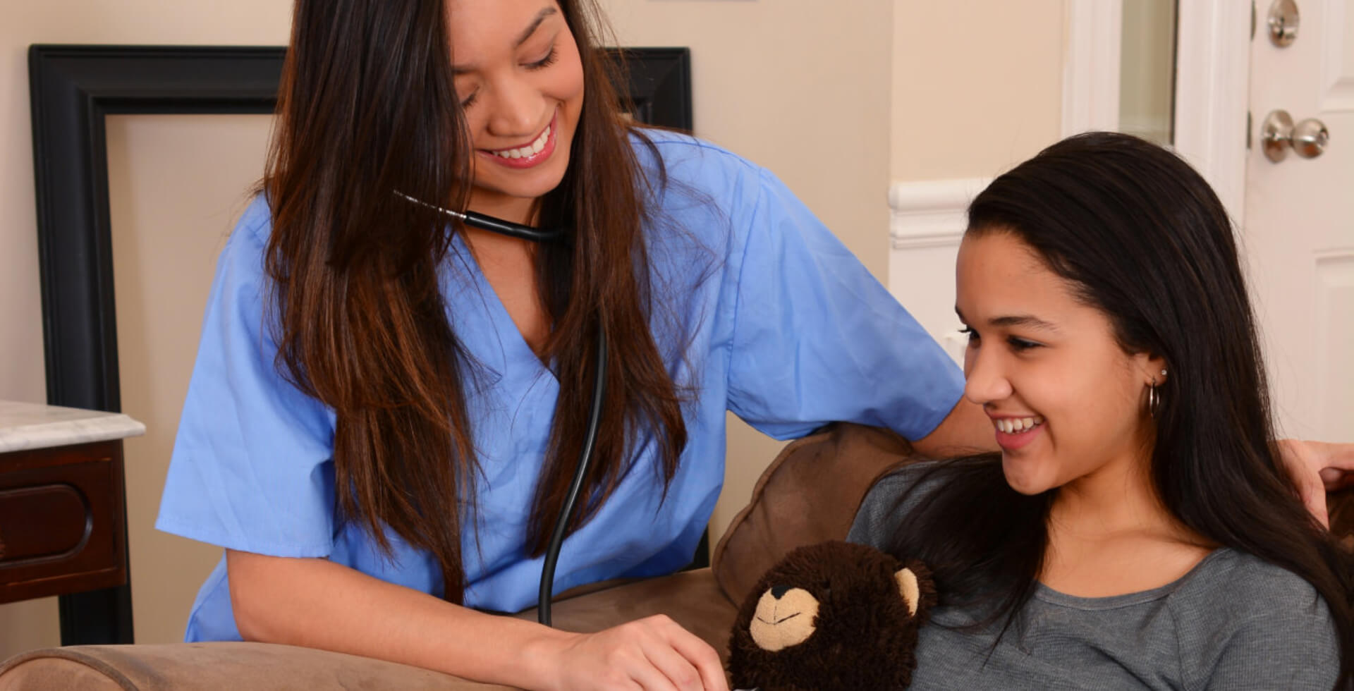 Home health care worker and a teen girl